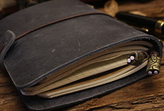 Handmade Short Bifold Leather Trip Travel Notebook Wallet Floral Leather Short Wallet For Men Women
