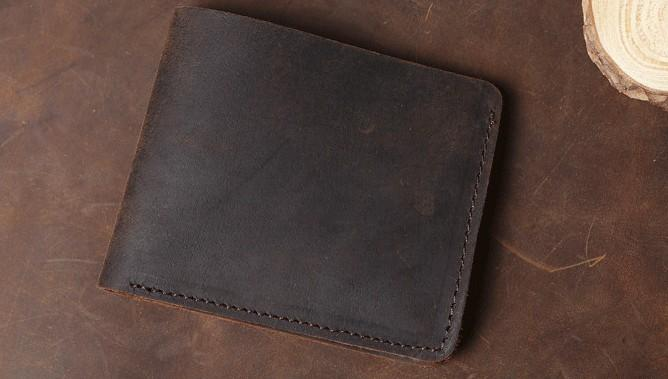 Cool Coffee Leather Mens Small Wallets Bifold Vintage Slim Short Wallet for Men