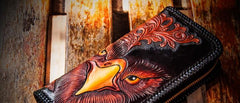 Handmade Leather Men Tooled Eagle Cool Leather Wallets Long Clutch Wallets for Men