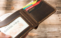 Cool Leather Mens Coffee Slim Small Wallet Bifold Vintage Short Wallet for Men