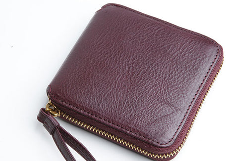Genuine Leather Cute billfold Slim Zipper Wallet Card Holder Wallet Purse For Women Girl