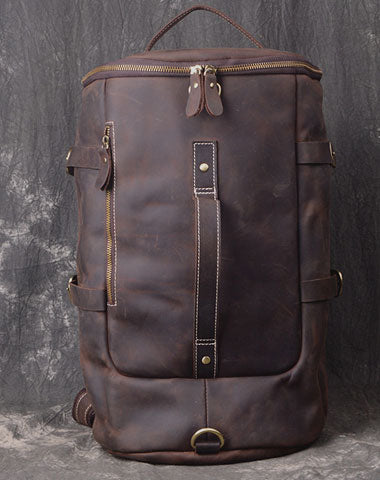Cool Leather Mens Weekender Bag Vintage Coffee Leather Backpack for men