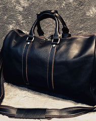 Cool Leather Mens Black Weekender Bag Travel Bag Duffle Bag for men