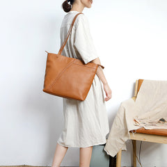 Fashion Handmade Brown Leather Tote Bag Shopper Bag Tote Purse For Women