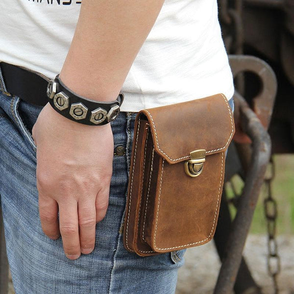 28e4fa789a29 Leather Mens Belt Pouch Small Cases Waist Bag Hip Pack Belt Bag for Me