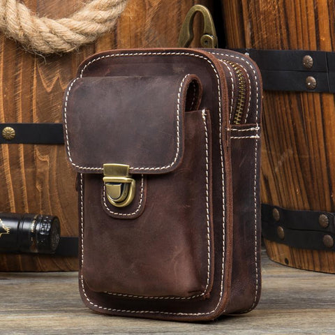Vintage Mens Leather Belt Pouch Small Belt Cases Small Hip Pouch Waist Bag for Men