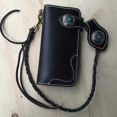 Cool Leather Mens Biker Chain Wallets Handmade Long Wallet with Chain