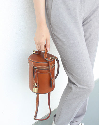 Leather Women Barrel Handbags Bucket Bag Shoulder Bag For Women