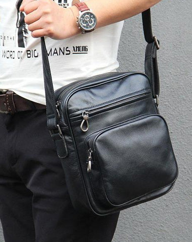 Leather Mens Cool Black Messenger Bag Shoulder Bag Crossbody Bag for Men