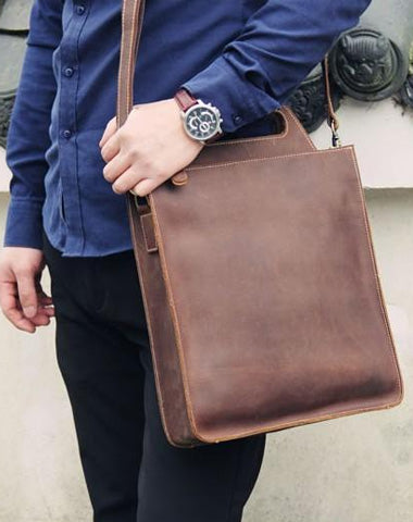 Vintage Mens Coffee Handbag Leather Cool Shoulder Bag for Men