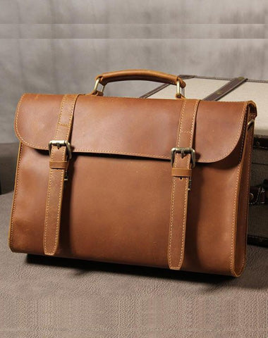 Leather Vintage Coffee Mens Briefcase Handbags Work Bag Business Bag for Men