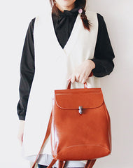 Stylish Leather Womens Backpack Cute School Backpack Purse for Women