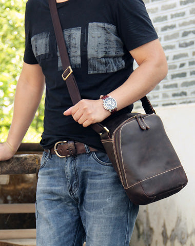 Vintage Leather Mens Cool Small Messenger Bag Shoulder Bag for Men