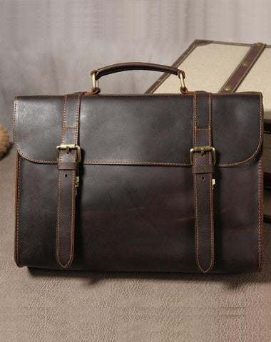 Vintage Leather Coffee Mens Briefcases Work Bag Business Bag Handbag for Men