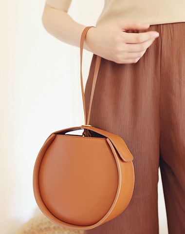 Stylish LEATHER WOMENs Circle Handbags Purse Round SHOULDER Purse for Women