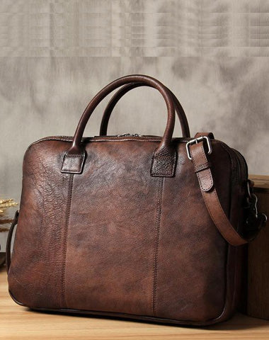 Vintage Leather Mens Brown Briefcase Work Bag Laptop Bag Handbag Business Bag for Men