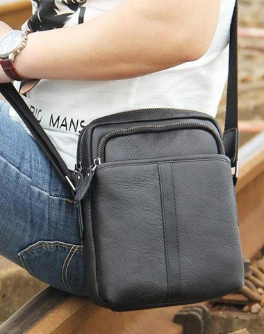 Leather Mens Black Small Shoulder Bag Messenger Bag Crossbody Bag for Men