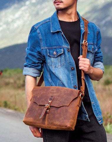 Vintage Leather Mens Messenger Bag Shoulder Bag Crossbody Bag for Men