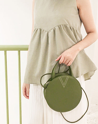 Stylish LEATHER WOMENs Circle Handbags Round SHOULDER BAGs Purse FOR WOMEN