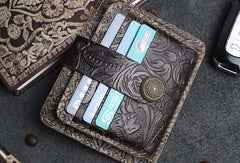 Handmade Short Leather Wallet Cards Wallet Flowral Leather Short Wallet For Men Women
