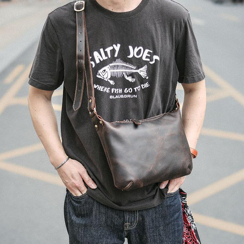"Dark Brown Leather Mens Casual 10"" Courier Bags Messenger Bag Small Brown Postman Bags For Men"