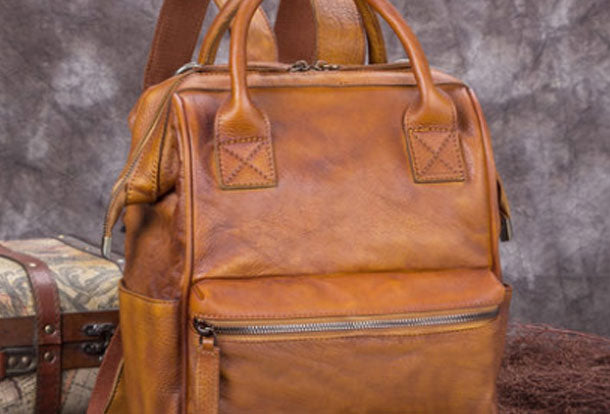 Genuine Handmade Leather Backpack Bag Vintage Shoulder Bag Women Men Leather Purse