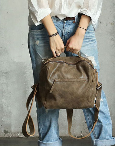 Handmade Vintage LEATHER WOMEN Backpack School Backpack FOR WOMEN