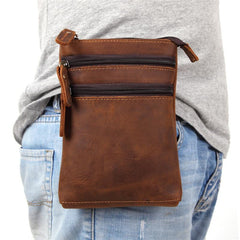 Vintage Leather Men's Waist Belt Pouch Cell Phone Holster Brown Mini Side Bag For Men