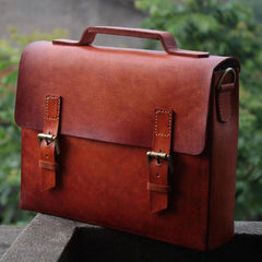 Cool Handmade Leather Mens Briefcase Business Laptop Briefcase for men