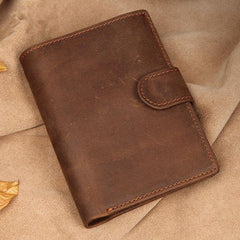 RFID Vintage Leather Men's Trifold Small Wallet Brown Short Wallet For Men
