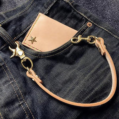 Cool Men's Leather 14'' Brass Key Chain Punk Wallet Chain Pants Chain For Men