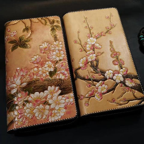 Brown Leather Women Cherry Blossom Tree Biker Wallet Handmade Tooled Zipper Long Wallets For Men