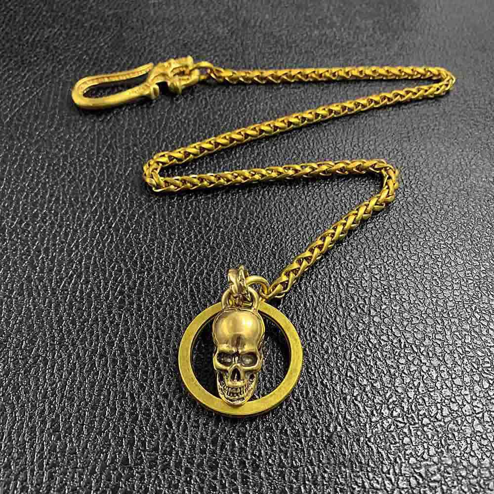 "Cool Brass 18"" Mens Skull Ring Key Chain Pants Chain Wallet Chain Motorcycle Wallet Chain for Men"