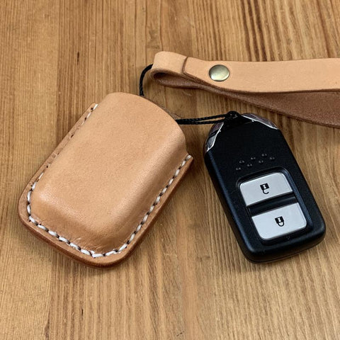 Handmade Beige Leather Mens Honda CR-V Odyssey Car Key Case Car Key Holder with Belt Loop/Belt Clip