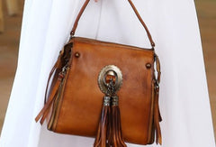 Womens Leather Handbag Vintage Tassel Crossbody Bag Shoulder Bag Purse For Women