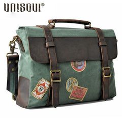 Mens Canvas Leather Cool Side Bag Messenger Bag Canvas Handbag for Men