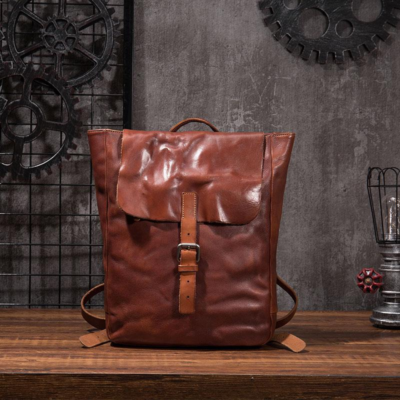 Black Brown Cool Mens Leather Backpack Travel Backpacks Leather Hiking Backpack for Men