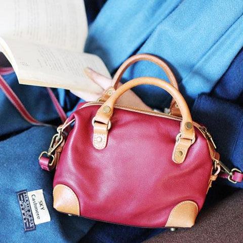Vintage Womens Leather Small Red Satchel Handbag Shoulder Bag Ladies Doctor Satchel Purse Women's Satchel Crossbody Purse