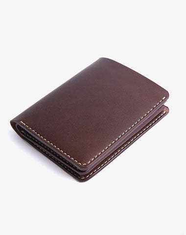 Handmade Cool Leather Mens Bifold Small Wallets billfold Wallet for Men