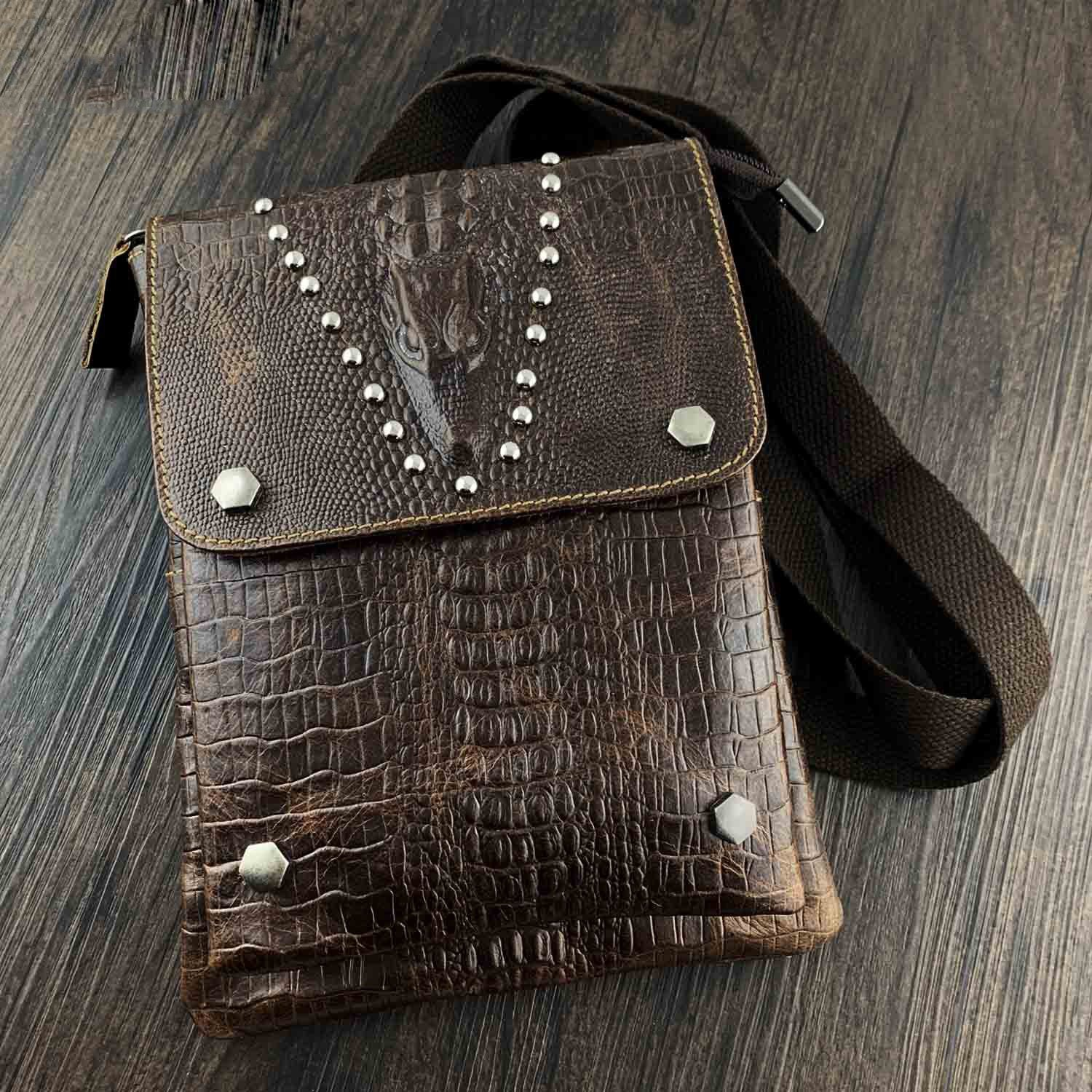 BADASS BROWN LEATHER MENS SMALL VERTICAL SHOULDER BAG SIDE BAG COURIER BAG MESSENGER BAG FOR MEN