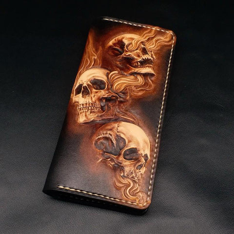 Dark Coffee Handmade Tooled Three Skulls Leather Mens Long Wallet Bifold Clutch For Men