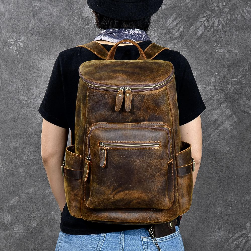 "Brown Leather Men 14"" Laptop Large Backpack Hiking Backpack Travel Backpack College Bag for Men"
