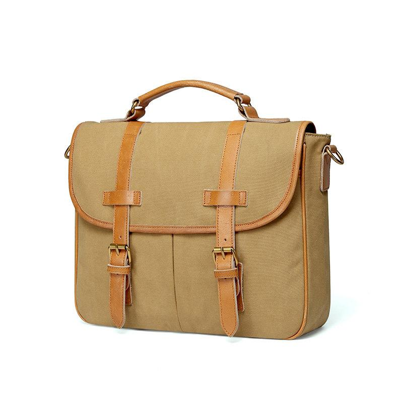 Khaki Canvas Leather Mens Casual Briefcase Shoulder Bag Messenger Bags Casual Courier Bags for Men