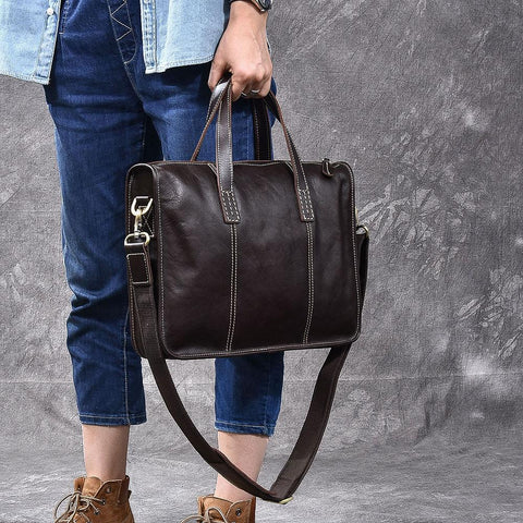 "Handmade Leather Men 13"" Black Laptop Briefcase Business Brown Briefcase For Men"