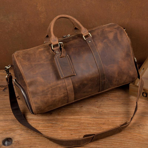Cool Brown Mens Leather 15 inches Weekender Bag Travel Shoulder Bags Duffle  Luggae Bag for Men