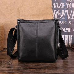 Casual Fashion Black Leather Men's Side Bag Courier Bag Black Vertical Messenger Bag For Men