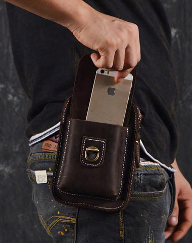Vintage Leather Cigarette Case Belt Pouch for Men Waist Bag BELT BAG For Men