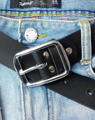 Handmade Black Leather Mens Belt Leather Belt for Men