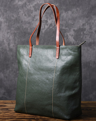 Green Women Leather Small Tote Bag Shopper Bag For Women