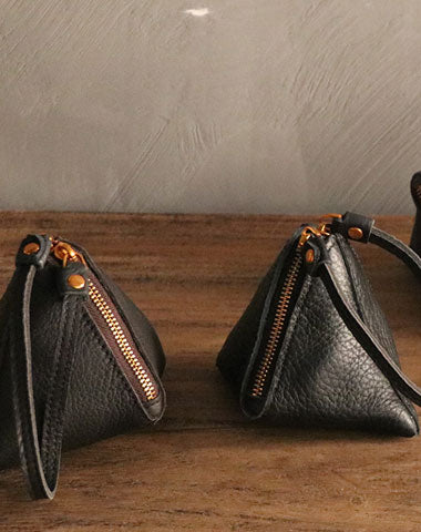 LEATHER WOMEN Triangle Small Coin Wallets Change Wallet FOR WOMEN